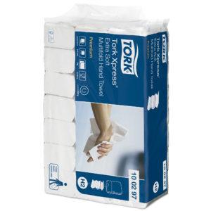 Tork 100297 Toalla interdoblada premium color blanca Hoja Doble, caja con 21  paquetes de 100 hojas cada uno