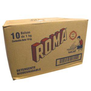 Caja con 10 bolsas de detergente en polvo ROMA con 1 kg.