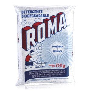 Paquete con 40 bolsas de detergente en polvo ROMA con 250gr