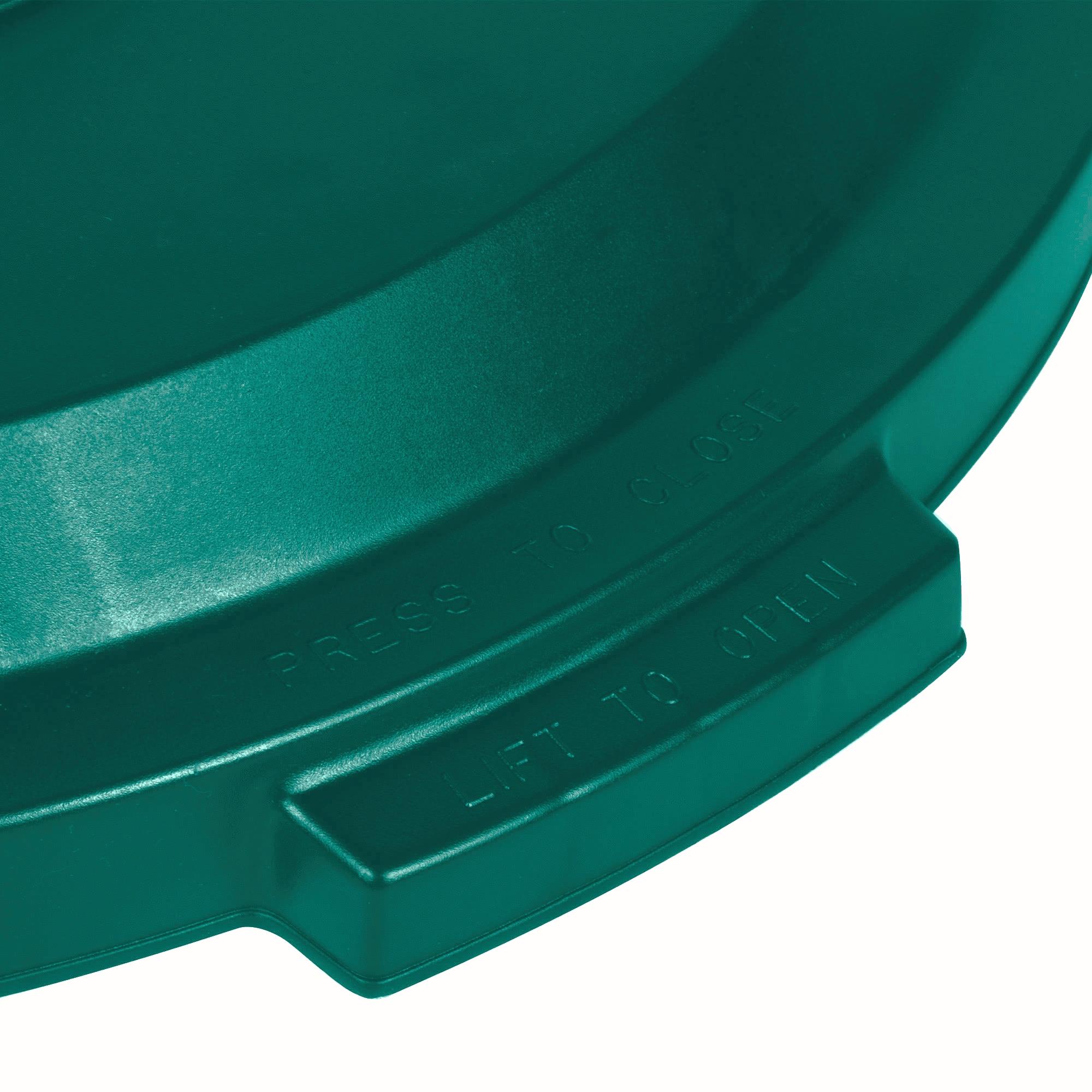 Rubbermaid 1788471 tapa Brute color verde para reciclaje mixto, aplica contenedor Brute de 32 galones 3