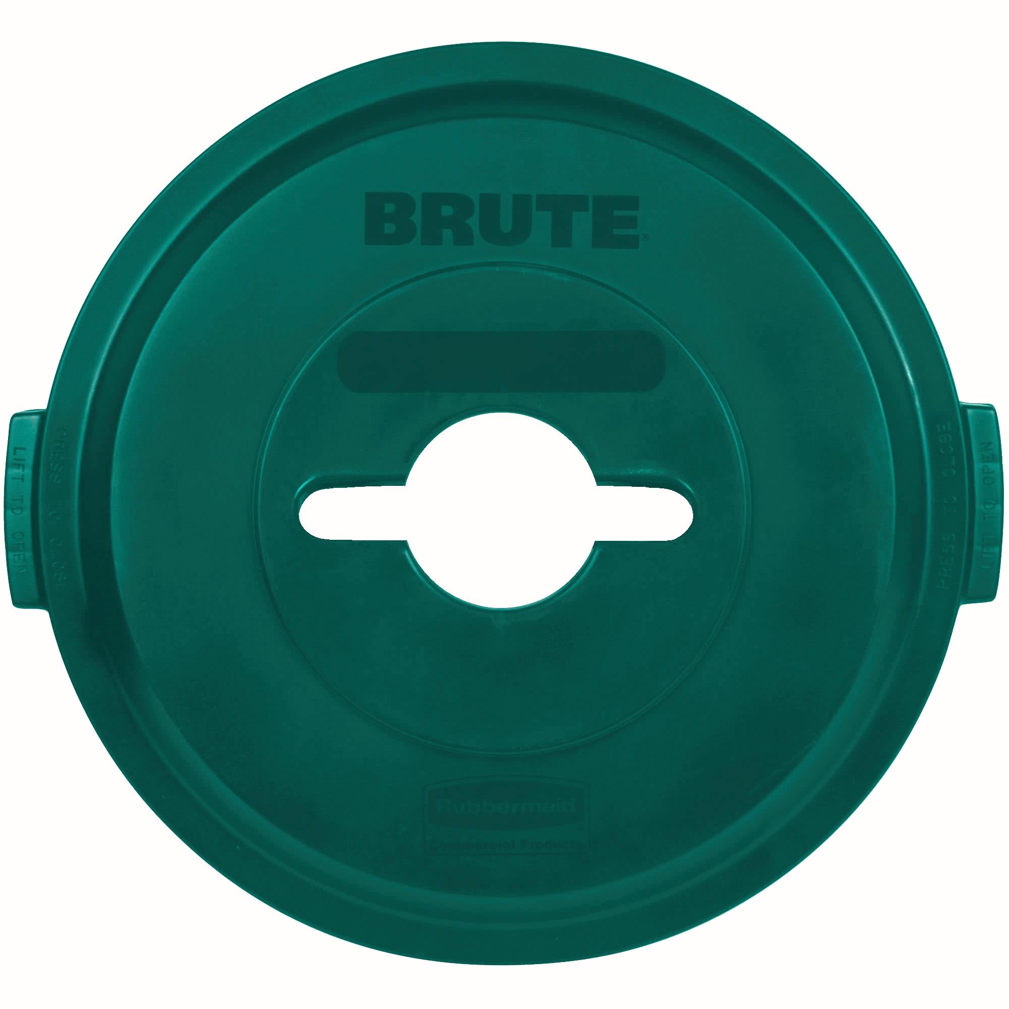 Rubbermaid 1788471 tapa Brute color verde para reciclaje mixto, aplica contenedor Brute de 32 galones 1