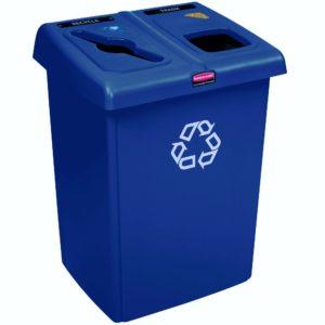 Rubbermaid 1792339 estación de reciclaje Glutton de 46 galones capaz de separar hasta 2 corrientes de desechos, color azul