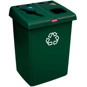 Rubbermaid 1792340 estación de reciclaje Glutton de 46 galones capaz de separar hasta 2 corrientes de desechos, color verde