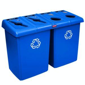 Rubbermaid 1792372 estación de reciclaje Glutton con 4 corrientes de desecho y capacidad para 92 galones, color azul