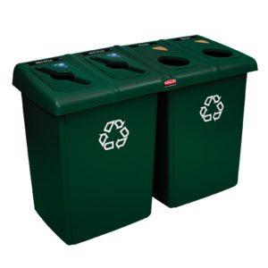 Rubbermaid 1792373 estación de reciclaje Glutton con 4 corrientes de desecho y capacidad para 92 galones, color verde