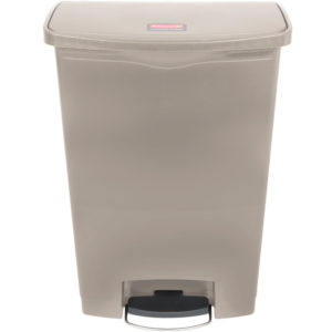 Rubbermaid 1883552 basurero front Slim-jim Step-on con capcidad para 24 gal, color gris con pedal y ruedas incorporadas