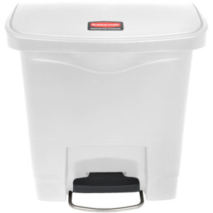 Rubbermaid 1883554 basurero Slim-jim front Step-on con capacidad para 4 gal, color blanco con pedal