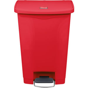 Rubbermaid 1883566 basurero Slim-jim front Step-on con capacidad para 13 gal, color rojo con pedal