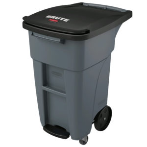 Rubbermaid 1971950 contenedor brute roll-out step-on con capacidad para 32 galones, con rudas delanteras, color gris