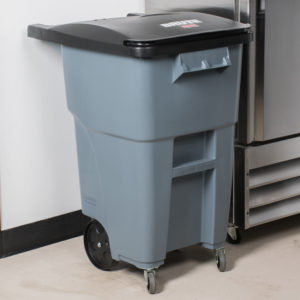 Rubbermaid 1971959 contenedor brute roll-out con capacidad para 50 galones, con ruedas delanteras, color gris
