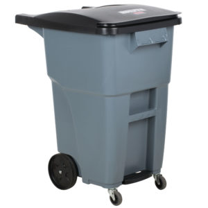 Rubbermaid 1971962 contenedor brute roll-out step-on con capacidad para 50 galones, con ruedas delanteras, color girs