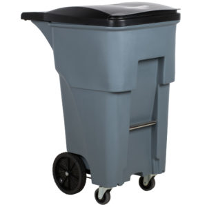 Rubbermaid 1971971 contenedor brute roll-out con capacidad para 65 galones, con ruedas delanteras, color gris