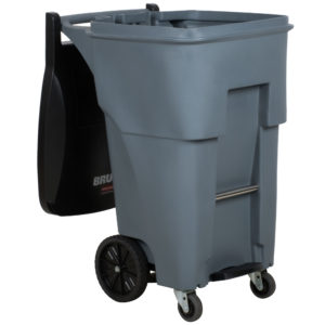 Rubbermaid 1971974 contenedor brute roll-out step-on con capacidad para  65 galones, con ruedas delanteras, color gris