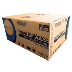 Greymoon 200-10 Higiénico institucional hoja sencilla, caja con 12 rollos de 200 mts cada uno