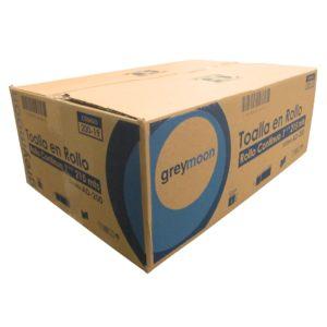 Greymoon 200-19 sistema AD-200 toalla en rollo color blanca hoja sencilla de flujo continuo, caja con 6 rollos de 215 mts cada uno