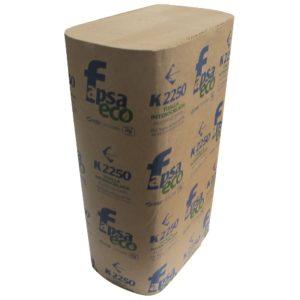 Fapsa K2250 toalla interdoblada hoja eco Kraft marrón sencilla 23.5 x 23.5, caja caja con 8 paquetes de 250 toallas cada uno