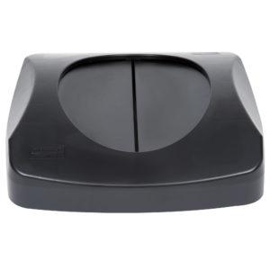 Rubbermaid FG268988BLA tapa untouchable abatible color negro, aplican contenedores FG356907 y FG356988