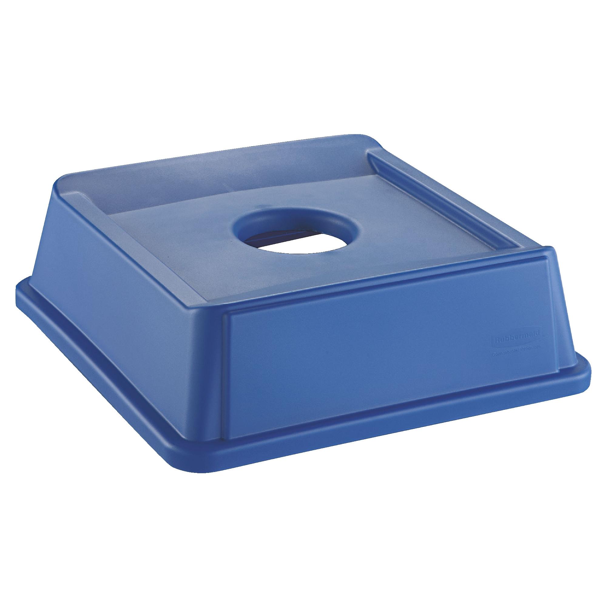 Rubbermaid FG279100DBLUE tapa untouchable color azul de reciclaje para botellas, aplica contenedor FG395873 y FG395973 1