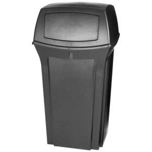 Rubbermaid FG843088BLA basurero ranger para exterior con capacidad para 35 galones con dos compuertas en la tapa, color negro