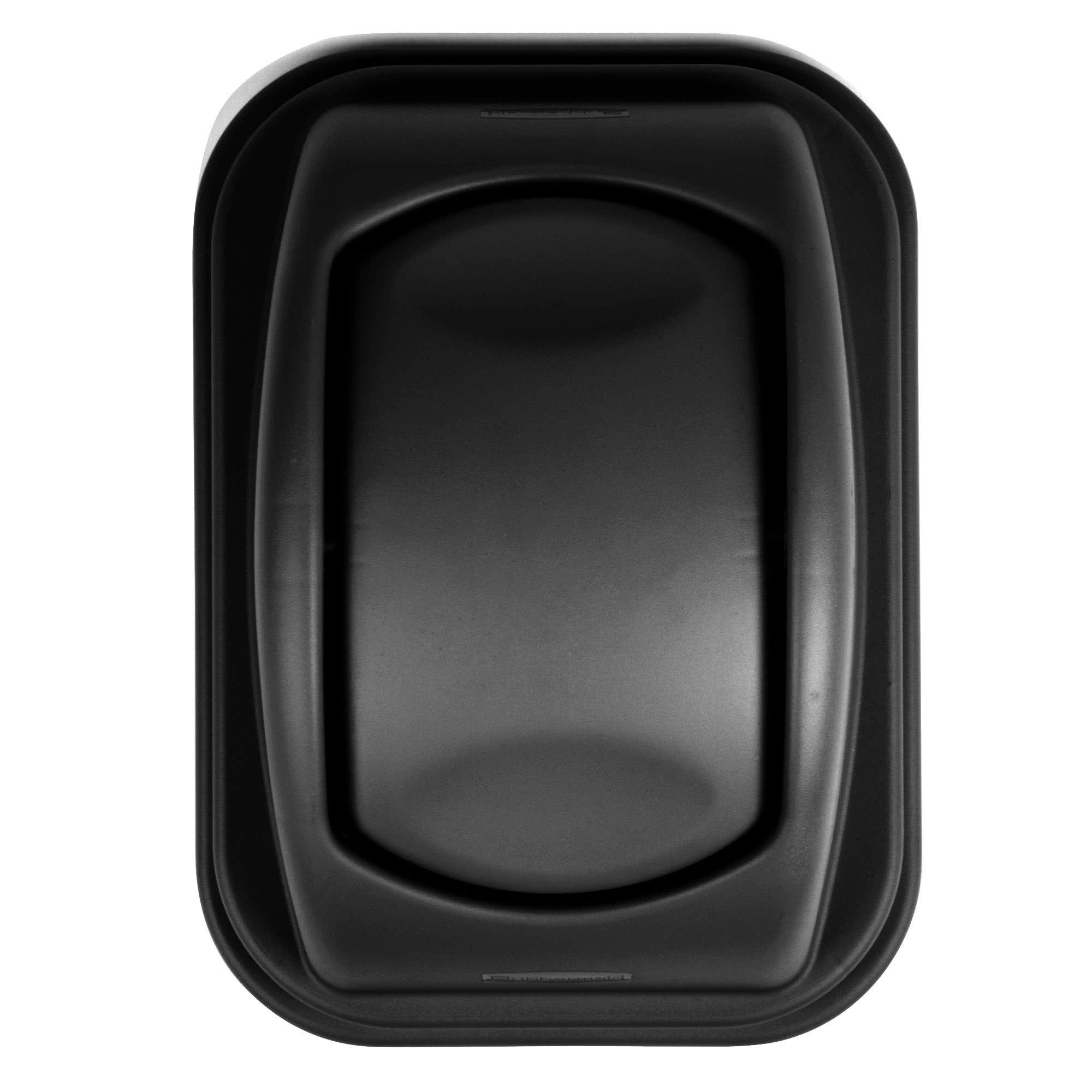 Rubbermaid FG306700BLA tapa untouchable soft abatible color negro, aplica contenedor FG295700 de 10 galones  2