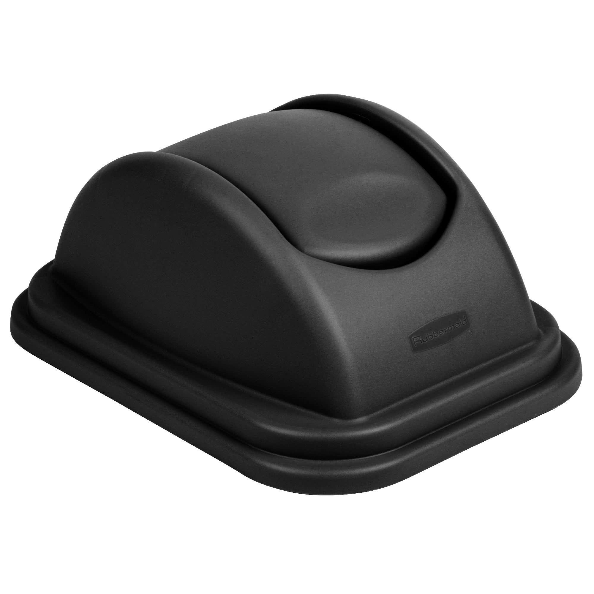 Rubbermaid FG306700BLA tapa untouchable soft abatible color negro, aplica contenedor FG295700 de 10 galones  1