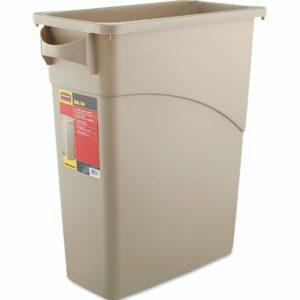 Rubbermaid FG354100BEIG Slim-jim con asascontenedor beige con capacidad para 16 galones