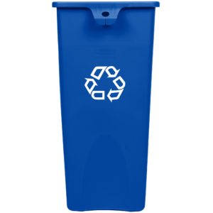 Rubbermaid FG356973BLUE contenedor untouchable cuadrado para reciclaje con capacidad para 23 galones, color azul