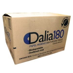 Dalia180 Higiénico junior institucional hoja doble, caja con 12 rollos 180 mts cada uno