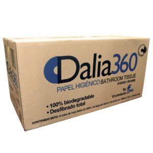 Dalia360 Higiénico junior institucional hoja doble, caja con 6 rollos 360 mts cada uno
