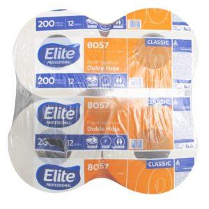 Elite 8057 Higiénico institucional diferenciado jumbo hoja doble, caja con 12 rollos de 200 mts cada uno