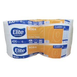Elite 8064 Higiénico institucional jumbo hoja doble, caja con 6 rollos de 400 mts cada uno