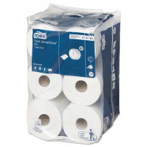 Tork 472193 Smart One Higiénico institucional hoja doble, paquete con 12 rollos de 111 mts cada uno