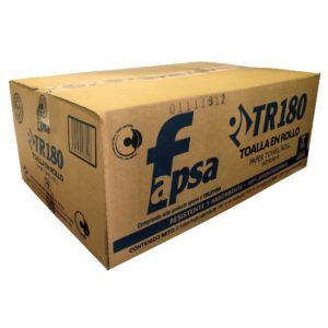 Fapsa TR180 toalla rollo tissue eco hoja sencilla color blanco, caja con 6 rollos de 180 metros cada uno