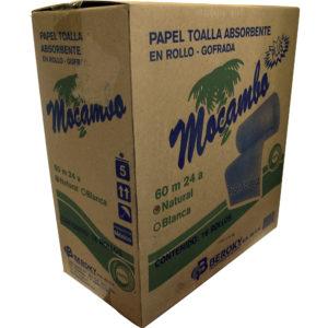 Mocambo Toalla en rollo gofrada color marrón, caja con 16 rollos de 60 mts cada uno