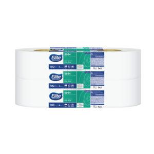 Elite 5964 Higiénico institucional universal jumbo hoja sencilla, paquete con 4 rollos de 700 mts cada uno