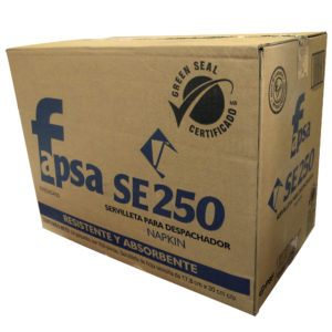 Fapsa SE250 toalla interdoblada hoja sencilla tissue eco color blanca 30 x 17.8, caja  con 24 paquetes de 250 toallas cada uno