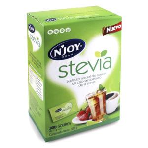 Caja  sustituto de azúcar Stevia  marca N`Joy con 300 sobres