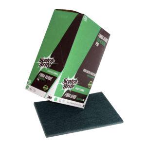 3M Scotch Brite fibra P-96 de 22.9 x 15.2cm, uso general, color verde, caja con 12 piezas