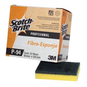 3M Scotch Brite fibra P-94 Dual de 12 x 8cm, talla y desprende, color verde/amarillo, caja con 12 piezas