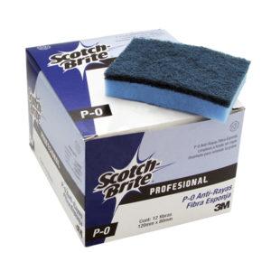 3M Scotch Brite fibra P-0 de 12 x 8cm, fibra esponja anti-rayas, color azul/celeste, caja con 12 piezas