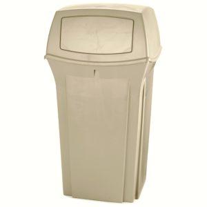 Rubbermaid FG843088BEIG basurero ranger para exterior con capacidad para 35 galones con dos compuertas en la tapa, color beige