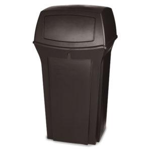 Rubbermaid FG843088BRN basurero ranger para exterior con capacidad para 35 galones con dos compuertas en la tapa, color café