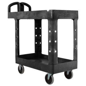 Rubbermaid FG450088BLA carrito utilitario de alta capacidad con dos estantes, color negro