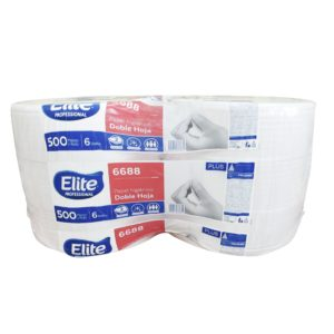 Elite 6688 Higiénico institucional universal jumbo hoja doble, caja con 6 rollos de 500 mts cada uno