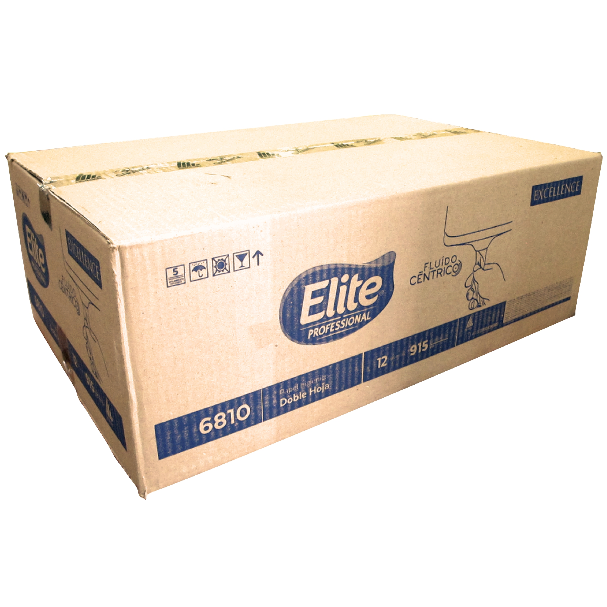 Elite 6810 Higiénico institucional diferenciado fluido céntrico de hoja doble, caja con 12 rollos de 200 mts cada uno 1