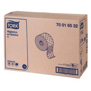 Tork 700165 Higiénico bobina universal institucional hoja doble, paquete con 12 rollos de 200 mts cada uno