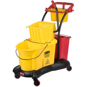 Rubbermaid FG778000YEL Wave Brake amarilla de prensa lateral con plataforma transportadora con portacubetas y compartimientos para accesorios, capacidad para 8.7 galones,
