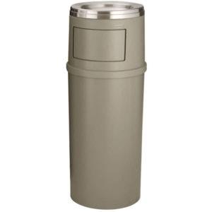 Rubbermaid FG818488BEIG basurero con capacidad para 15 galones, bandas de retención, tapa con puertas  y cenicero en la parte superior, color beige, circular