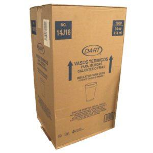 Dart 14j16 Caja de vaso térmico para 14 oz, caja con 1000 piezas en 50 paquetes