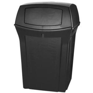Rubbermaid FG917188BLA basurero ranger para exterior con capacidad para 45 galones con dos compuertas en la tapa, color negro